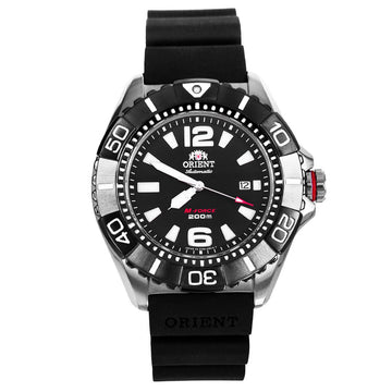 Orient Men's Automatic Watch - M-Force Black Dial Black Rubber Strap Power Reserve