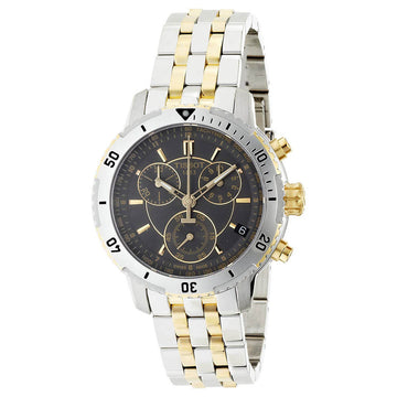 Tissot Men's Chronograph Watch - PRS 200 Black Dial Two Tone Bracelet | T0674172205100