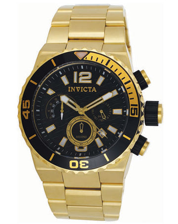 Invicta 1343 Men's Gold Tone Chronograph Black Dial Watch