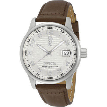 Invicta Men's Chrono Watch - I-Force Silver Tone Dial Brown Leather Strap | 12825