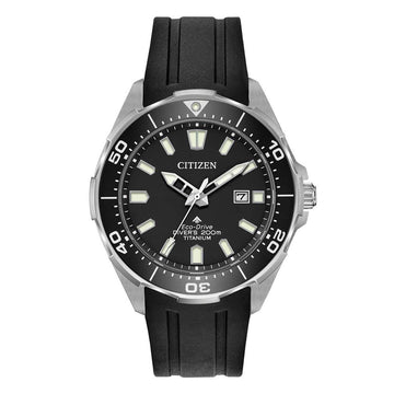 Citizen Men's Strap Watch - Promaster Diver Black Dial Black Rubber | BN0200-05E