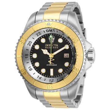 Invicta Men's GMT Watch - Reserve Hydromax Black Dial Two Tone Bracelet | 29732