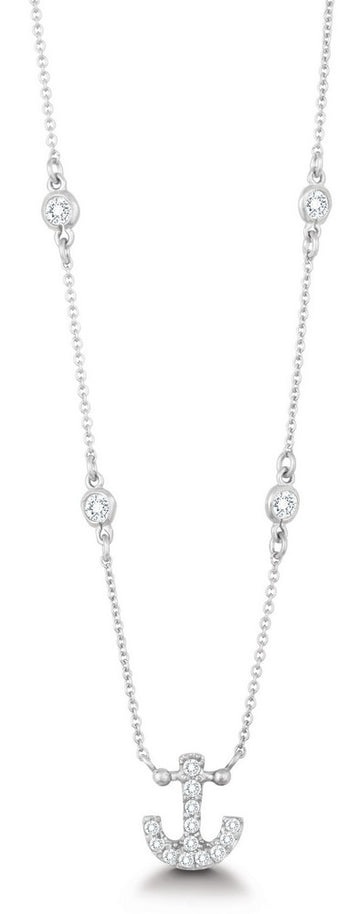 Sterling Silver CZ Anchor with Bezel CZ Necklace