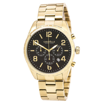 Caravelle by Bulova 44B114 Men's Sport Black Dial Yellow Gold Steel Bracelet Chronograph Watch