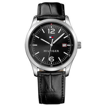 Tommy Hilfiger Men's Quartz Watch - Black Dial Leather Strap | 1710350