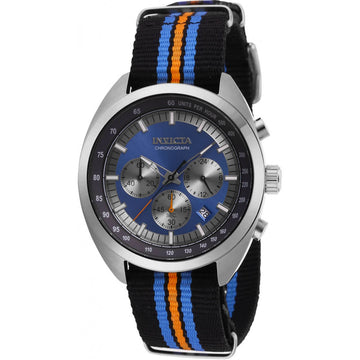 Invicta Men's Chronograph Watch - S1 Rally Black, Blue, Orange Nylon Strap | 29989
