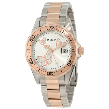 Invicta 12504 Women's Angel Silver Dial Two Tone Rose Gold Steel Bracelet Dive Watch