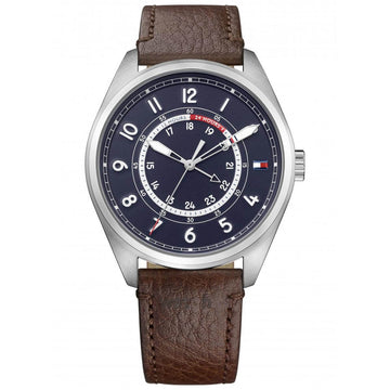 Tommy Hilfiger Men's Quartz Watch - Blue Dial Brown Leather Strap | 1791371