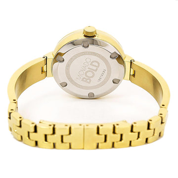 Movado 3600282 Women's Bold Diamond Accented Bezel Yellow Steel Bangle Bracelet Brown Dial Watch