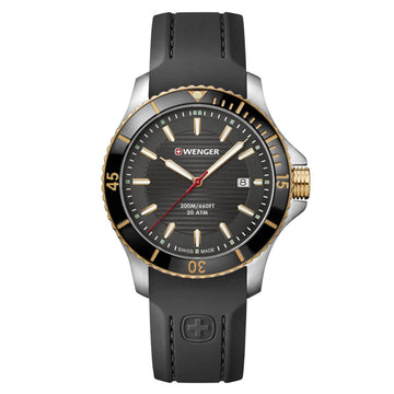 Wenger Men's Strap Watch - Seaforce Black Dial Black Silicone | 01.0641.126