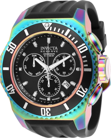 Invicta Men's Chronograph Watch - Russian Diver Reserve Black Dial Black Band | 25734