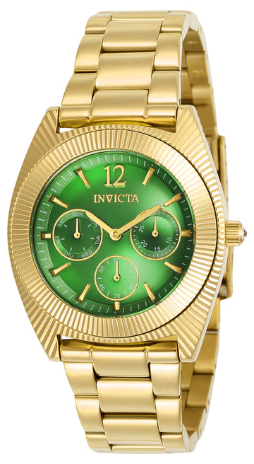 Invicta 23749 Women's Angel Green Dial Yellow Gold Steel Bracelet Crystal Watch