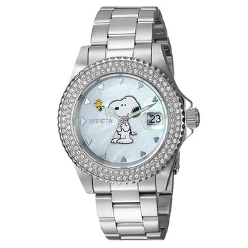 Invicta 24808 Women's Snoopy Angel White MOP Dial Steel Bracelet Crystal Dive Watch
