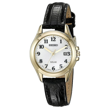 Seiko SUT254 Core Solar Women's White Dial Black Strap Watch