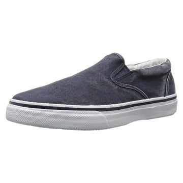 Sperry 0457374 Men's Striper Salt Washed Navy Canvas Slip-On Sneaker