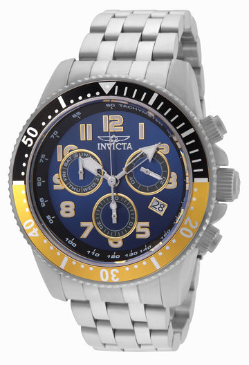 Invicta 24649 Men's Pro Diver Blue Dial Steel Bracelet Chronograph Dive Watch