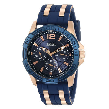 Guess U0366G4 Men's Rose Gold Steel And Silicone Strap Iconic Signature Blue Dial Watch