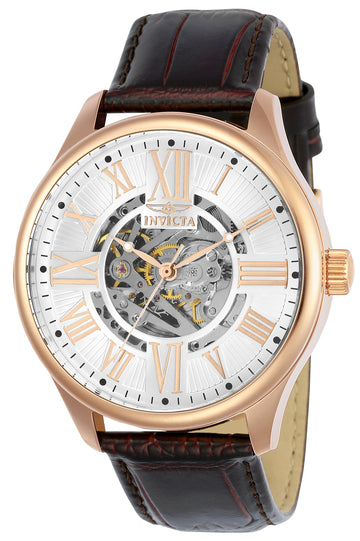 Invicta Men's Automatic Watch - Vintage Leather Strap Semi-Skeleton Silver Dial