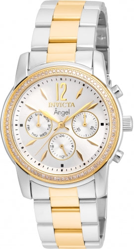 Invicta Women's Two Tone Steel Diamond Watch - Angel Silver Dial Day-Date | 21715
