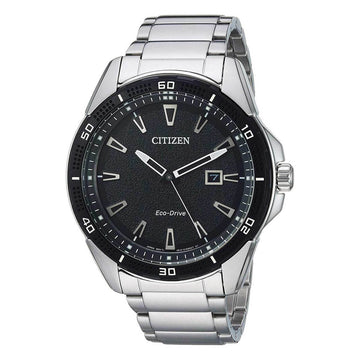 Citizen Men's Steel Bracelet Watch - Action Required Black Dial Date | AW1588-57E