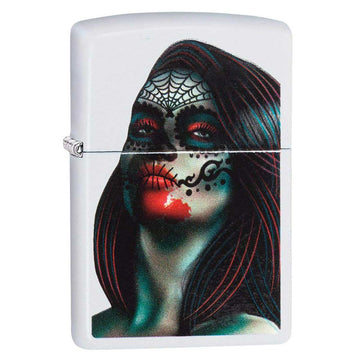 Zippo Windproof Pocket Lighter - Day of The Dead Lady Tattoo White Matte | 29400
