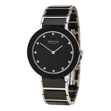 Bering 11435-749 Women's Ceramic Quartz Black Ceramic & Steel Bracelet Black Dial Watch