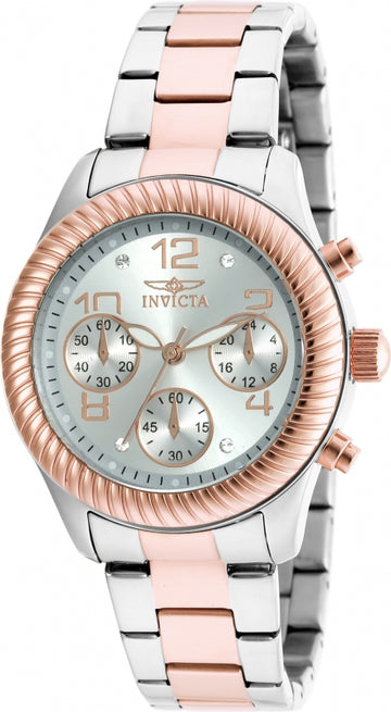 Invicta Women's Chronograph Watch - Angel Silver Dial Two Tone Steel | 20269