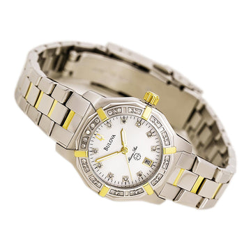 Bulova 98R118 Women's Diamond Quartz Two Tone Yellow Steel Mother of Pearl Dial Watch