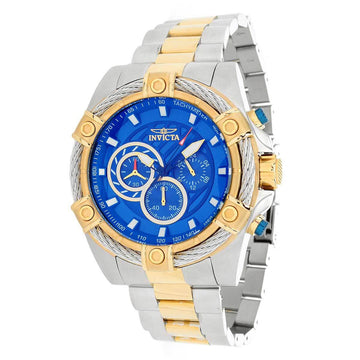 Invicta Men's Chronograph Watch - Bolt Blue Dial Two Tone Steel Bracelet | 25522