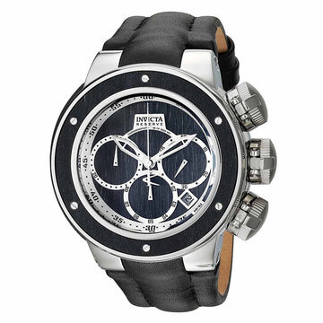 Invicta 22939 Men's Reserve Sea Dragon Chrono Silver & Black Wood Dial Leather Strap Dive Watch