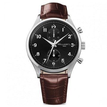 William L. 1985 WLAC02NRCM Men's Small Chronographs Black Dial Brown Leather Strap Watch