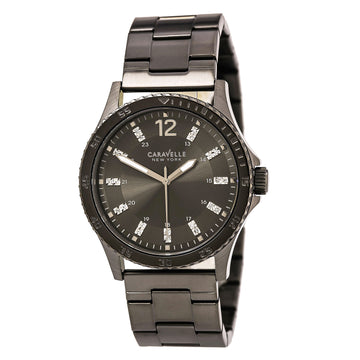 Caravelle 45A138 Men's Gunmetal Steel Bracelet Quartz Grey Dial Crystal Watch