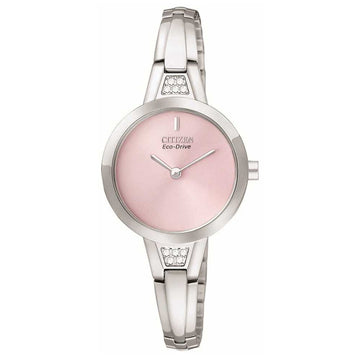 Citizen EX1150-52X Women's Silhouette Eco-Drive Swarovski Crystals Pink Dial Watch