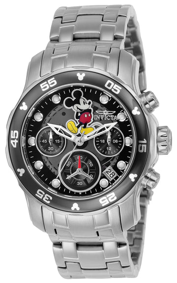 Invicta 24132 Women's Disney Edition Chronograph Black Dial Steel Bracelet Dive Watch