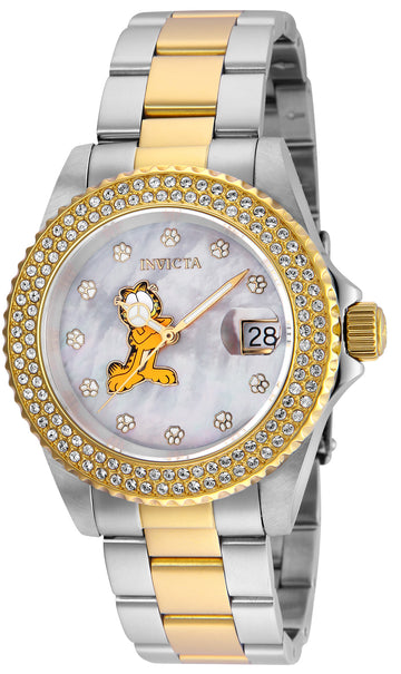 Invicta 24869 Women's Garfield Angel MOP Dial Two Tone Steel Crystal Dive Watch