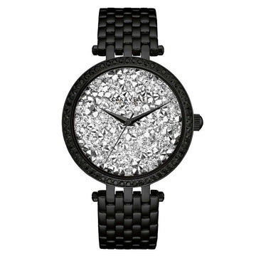 Caravelle 45L160 Women's Black Steel Bracelet Quartz Silver Rock Crystal Dial Watch