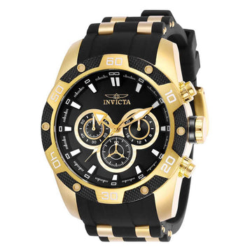 Invicta Men's Chronograph Watch - Speedway Black Dial Steel & Rubber Strap | 25835