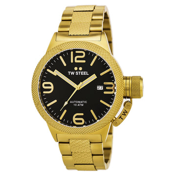 TW Steel CB95 Men's Canteen Bracelet Automatic Black Dial Yellow Gold Plated Steel Date Watch