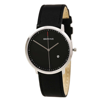Bering 11139-402 Men's Classic Black Dial Black Leather Strap Date Watch