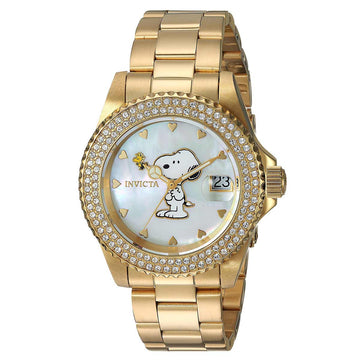 Invicta 24809 Women's Snoopy Angel White MOP Dial Yellow Gold Steel Bracelet Crystal Dive Watch