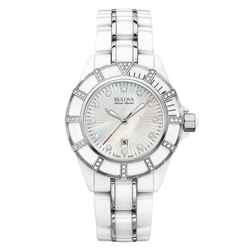 Bulova Accu-Swiss Women's Diamond Watch - Mirador Steel & Ceramic MOP Dial | 65R154
