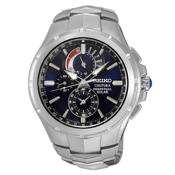 Seiko SSC375 Men's Coutura Solar Steel Bracelet Chronograph Blue Dial Alarm Day Date Watch