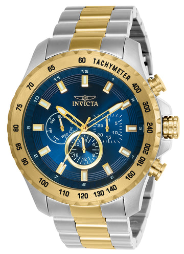 Invicta 24214 Men's Two Tone Yellow Steel Quartz Speedway Blue Dial Day-Date Watch