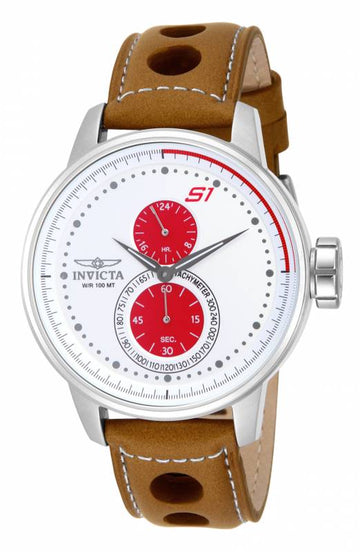 Invicta Men's Automatic Watch - S1 Rally Brown Leather Strap White Dial | 16018
