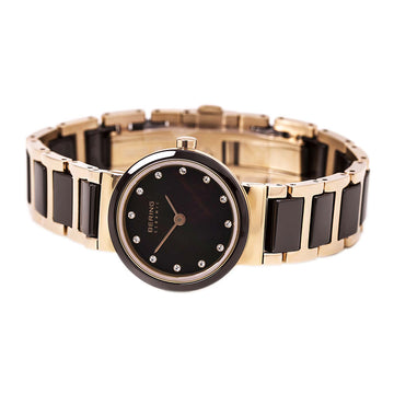 Bering 10725-765 Women's Ceramic Brown MOP Dial Steel & Ceramic Bracelet Crystal Watch