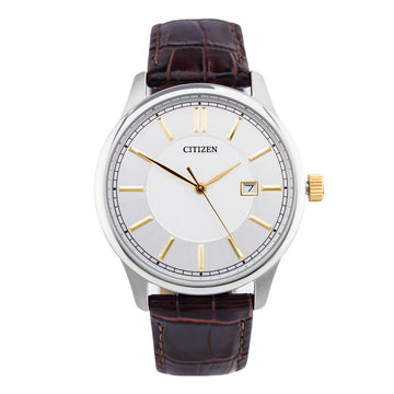 Citizen Men's Strap Watch - Quartz Silver Dial Brown Leather | BI1054-04A