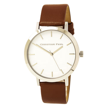Christian Paul RW-02 Men's Raw Leather Quartz White Watch