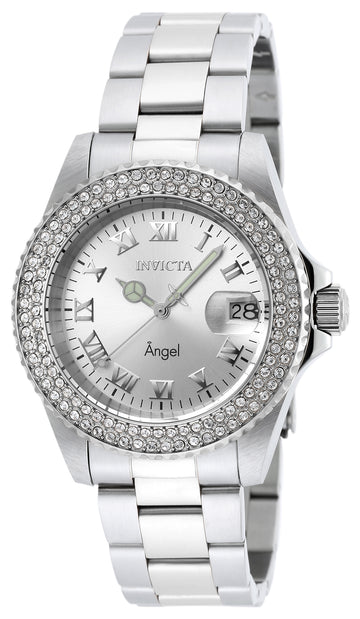 Invicta Women's Stainless Steel Crystal Watch - Angel Quartz Silver Dial Date | 20213