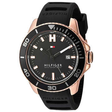 Tommy Hilfiger 1791266 Men's Wade Black Silicone Strap Black Dial Quartz Date Watch