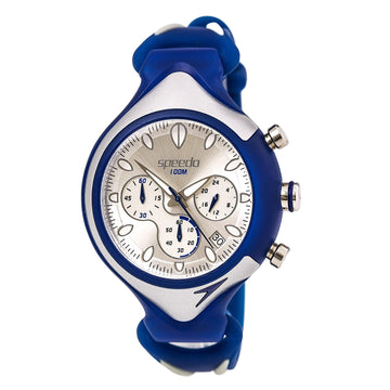 Speedo SD55162 Men's Chronograph Silver and Blue Rubber Strap Silver D